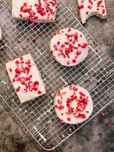 brown butter rose shortbread cookies
