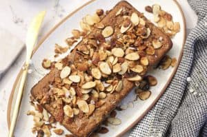 gluten free banana bread with toasted almonds