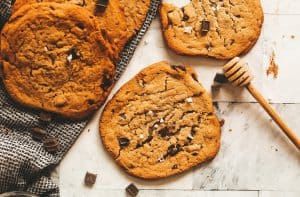 tahini and honey chocolate chip cookies
