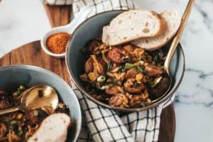 20 Minute Summery Cajun Orzo with Kielbasa