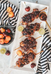 cherry balsamic chicken skewers