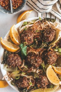 balsamic meatballs with rice noodles