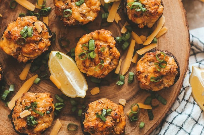 Cheesy Old Bay Crab Stuffed Mushrooms
