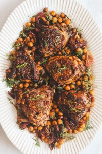 honey za'atar chicken with chickpeas