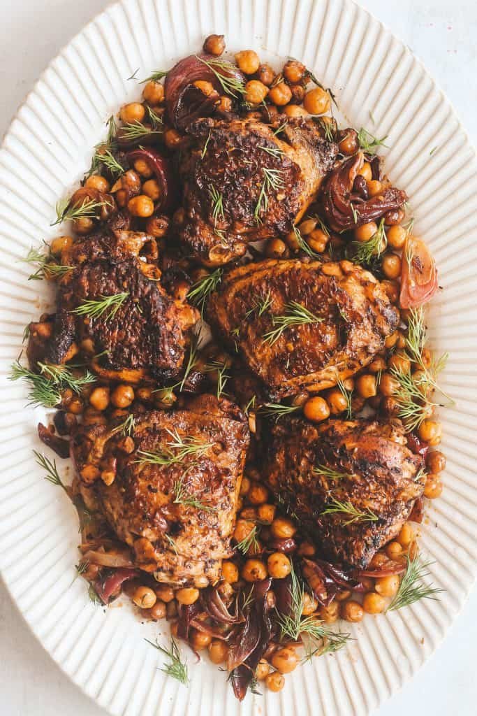 honey za'atar chicken with chickpeas on a plate