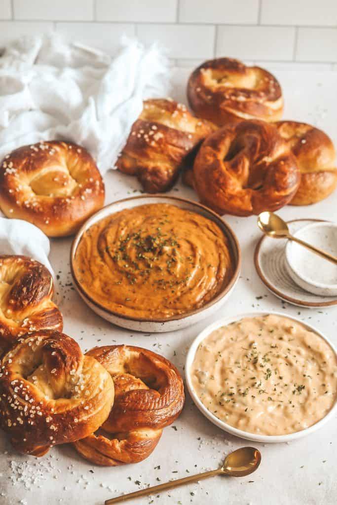 smoked gouda dip with pretzels