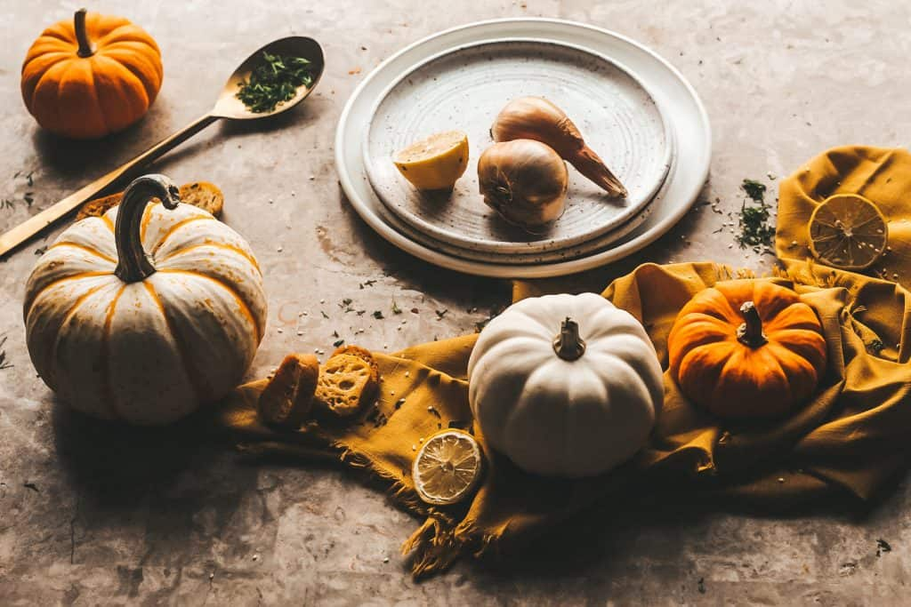 pumpkins and plates