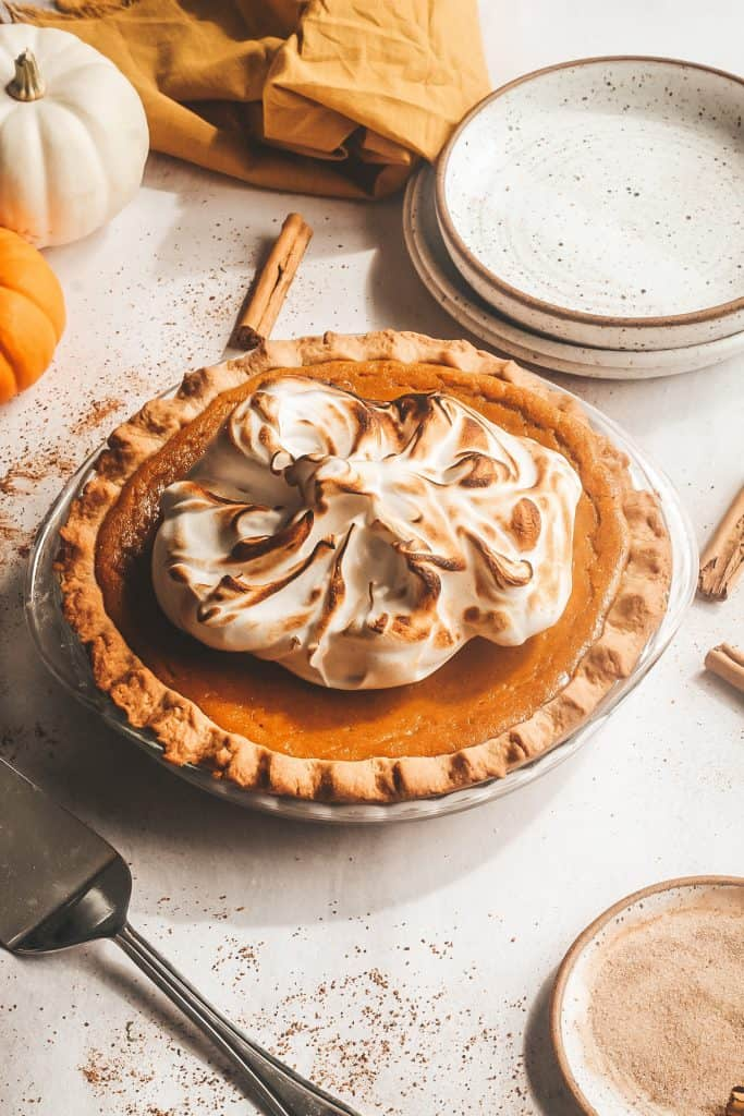 Sage Browned Butter Pumpkin Pie with Spiced Meringue