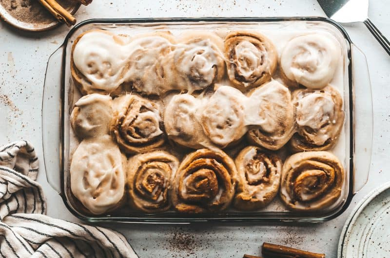 Pear Cinnamon Rolls with Cream Cheese Frosting