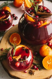 sangria with cranberries apple cider and pears