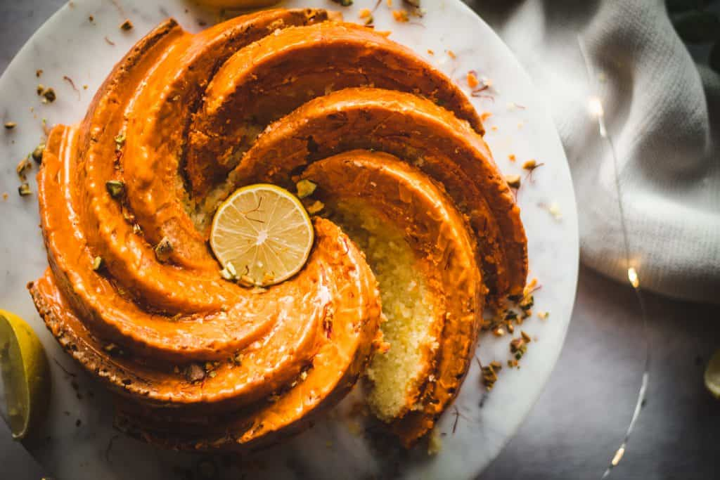 lemon cream bundt with saffron glaze