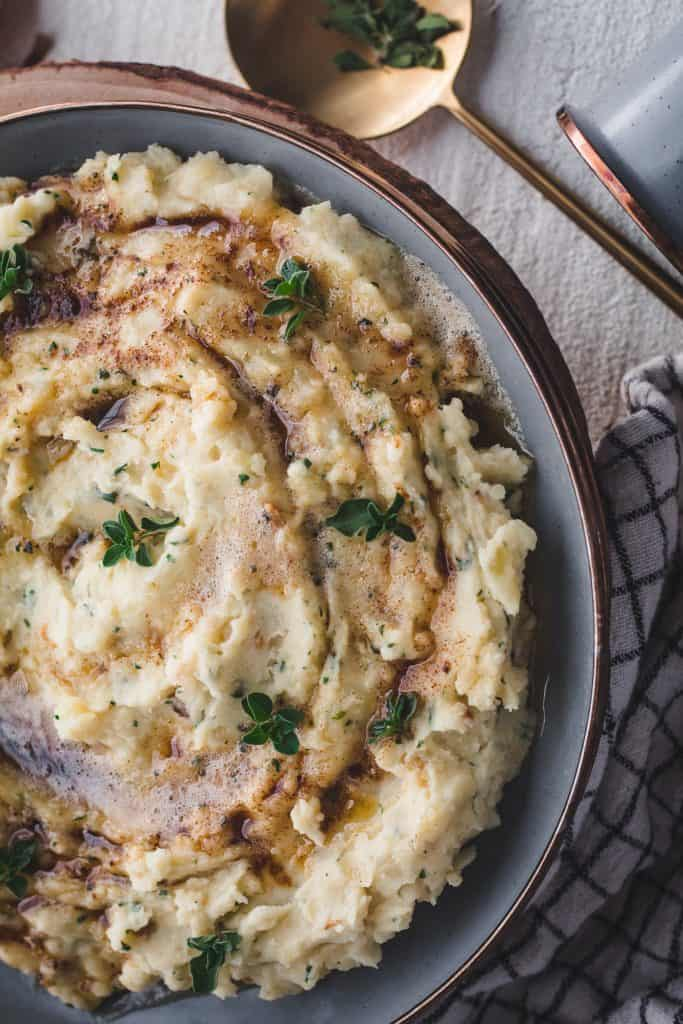 brown butter garlic and herb mashed potatoes