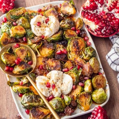 Brussels Sprouts with Spicy Honey and Burrata