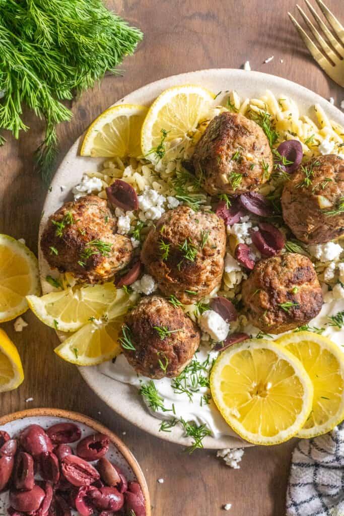 greek meatballs with creamy lemon orzo