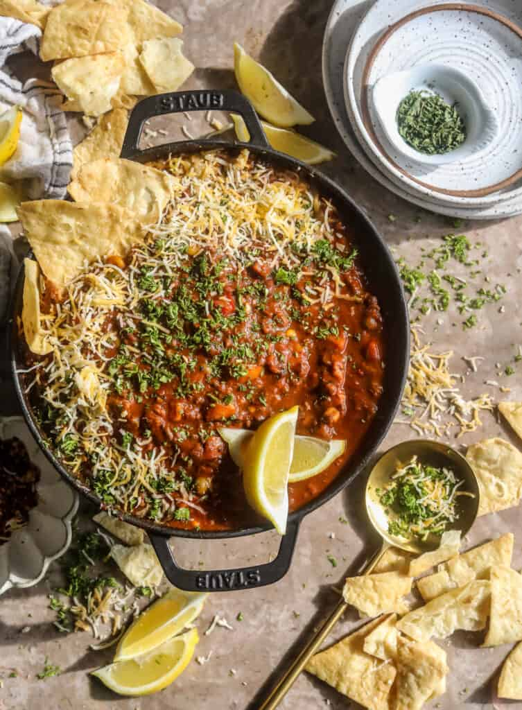pot of black bean chili