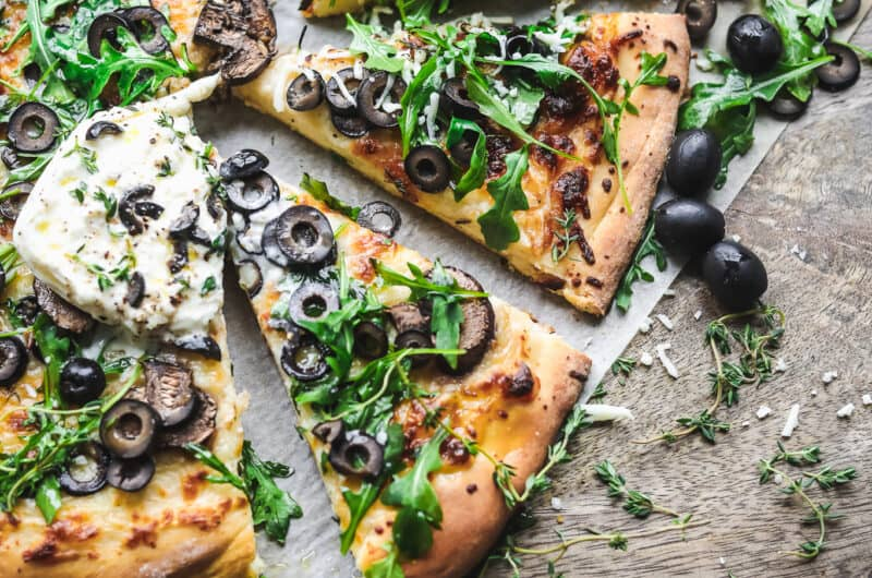 Cheesy Olive Pizza with Mushrooms and Burrata
