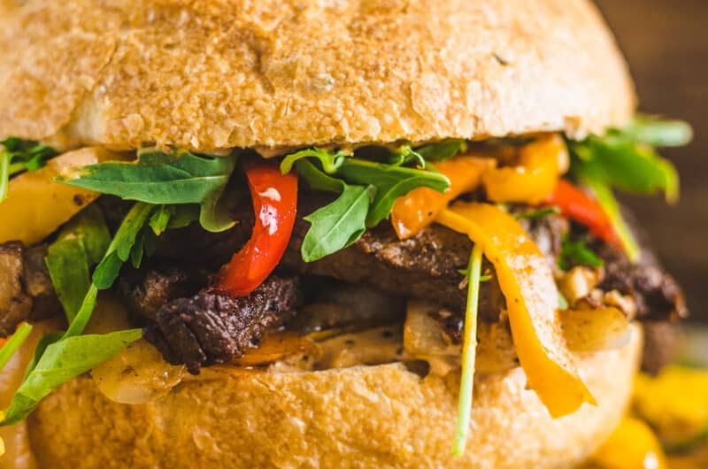 Cajun Steak Sandwich with Peppers and Onions