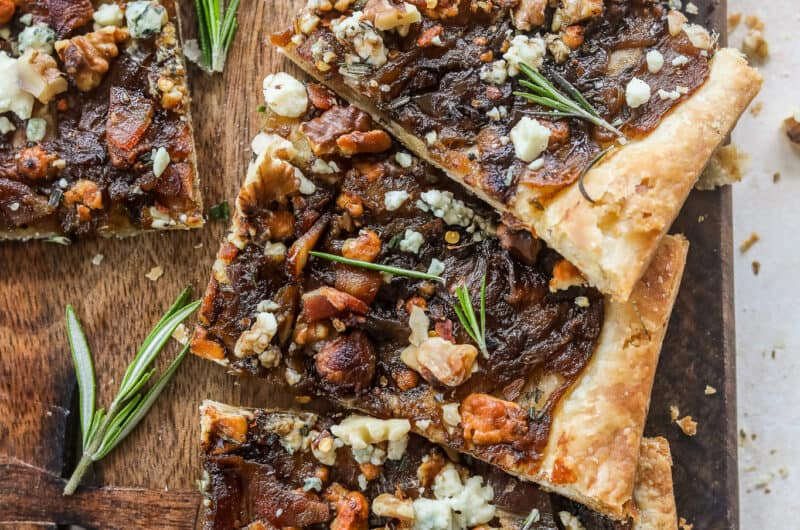 Caramelized Onion Puff Pastry with Bacon and Gorgonzola