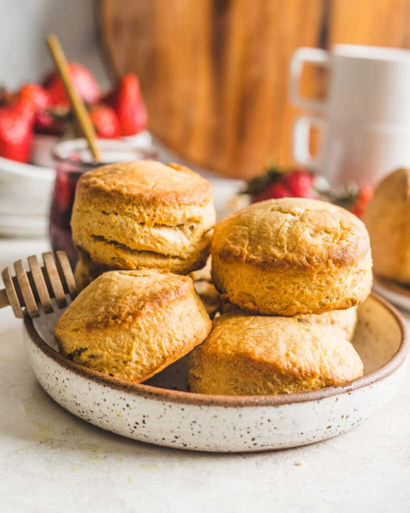 Honey Buttermilk Biscuits on a plate