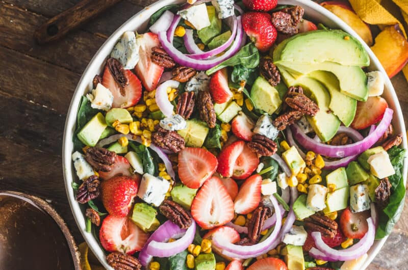 Strawberry Avocado Spinach Salad with Candied Pecans