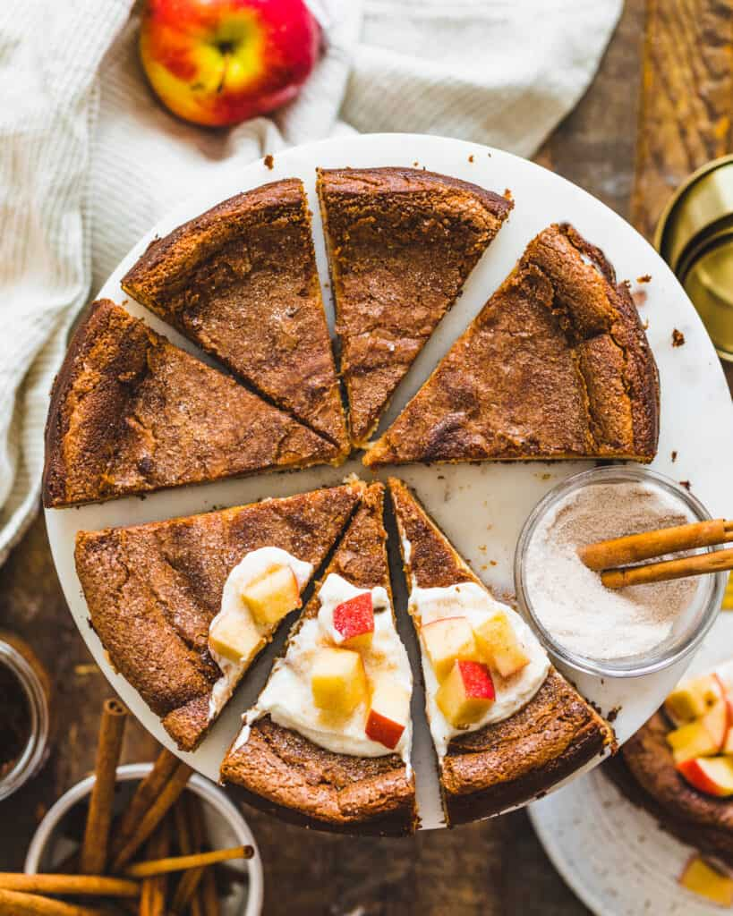 Overhead view of sliced Apple Butter Basque Cheesecake