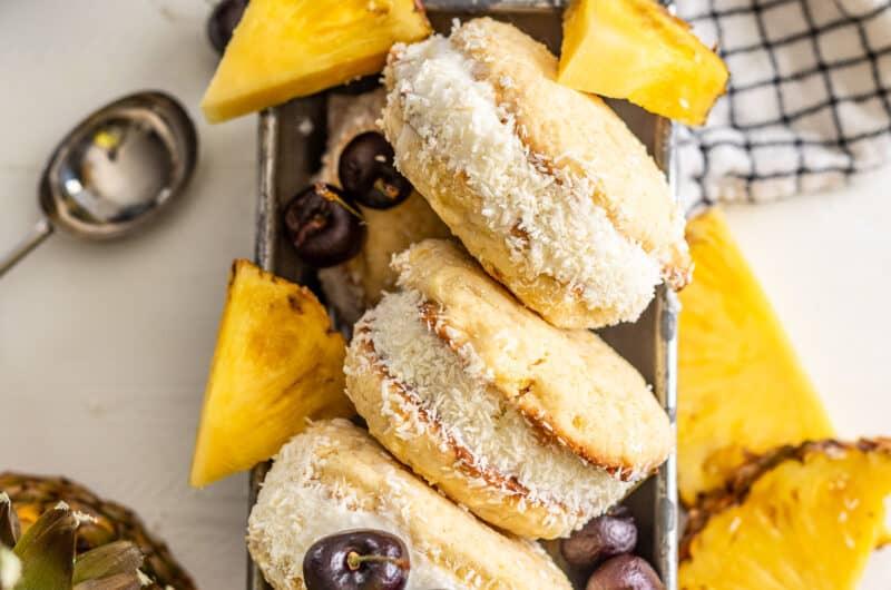 Pina Colada Cookie Ice Cream Sandwiches
