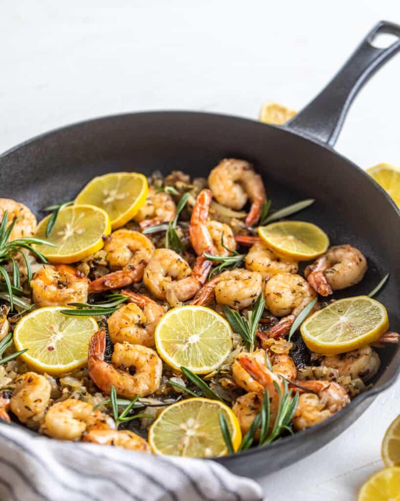 Shrimp and Lemons in a cast iron skillet