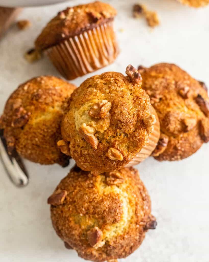 Overheat shot of banana nut muffins