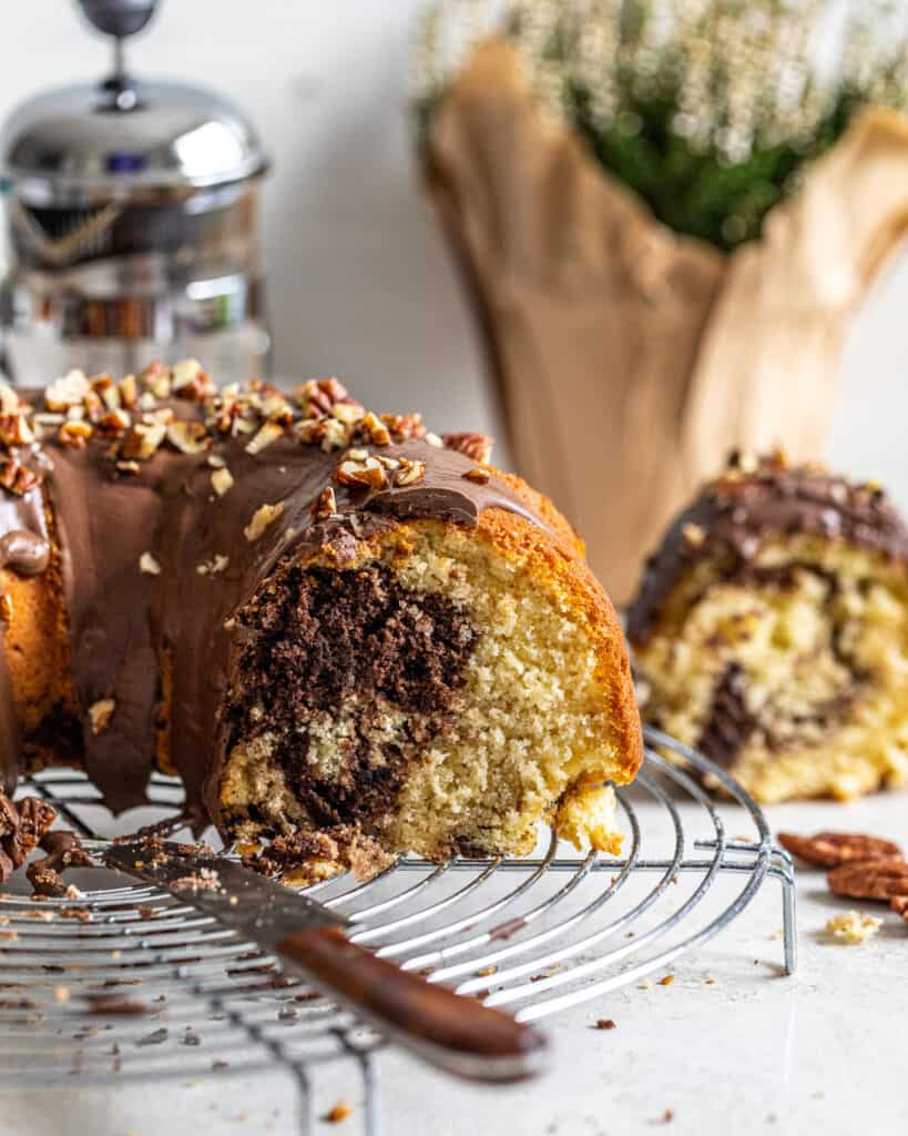 inside shot of the chocolate coffee marble cake