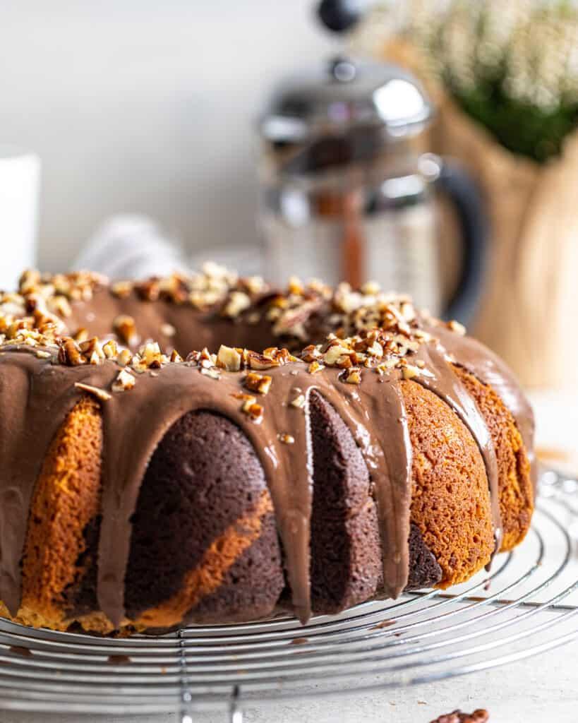 up close photo of chocolate coffee marble cake