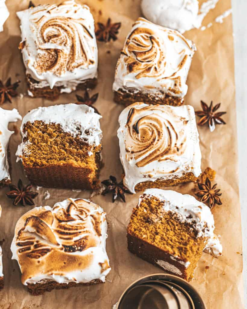 Sweet Potato Marshmallow Bars on a piece of parchment paper